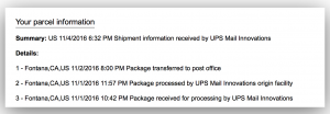 UPS status still in US